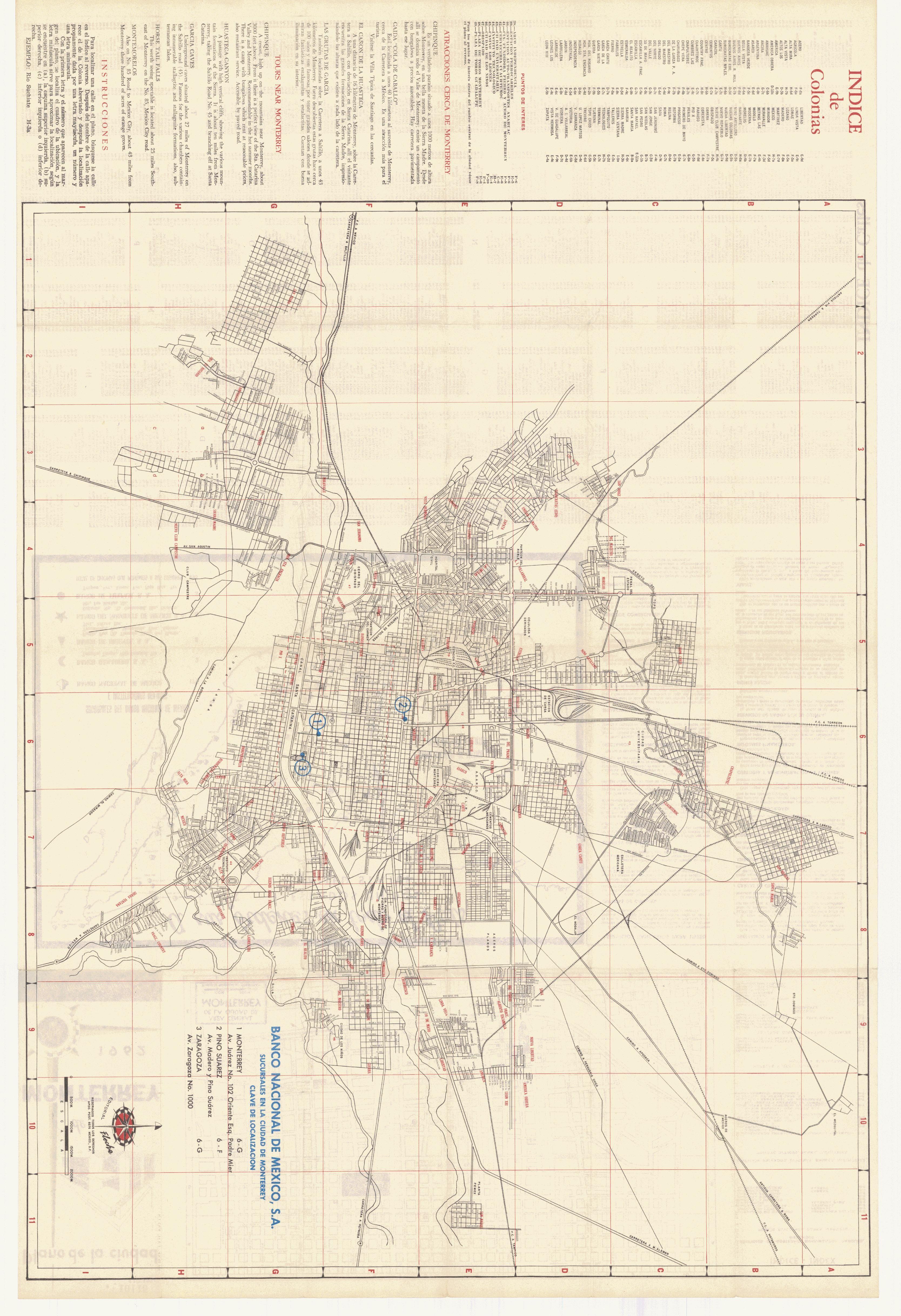 Maps of Monterrey (Downtown) Map, Nuevo León, Mexico ... |Old Monterrey Mexico Map