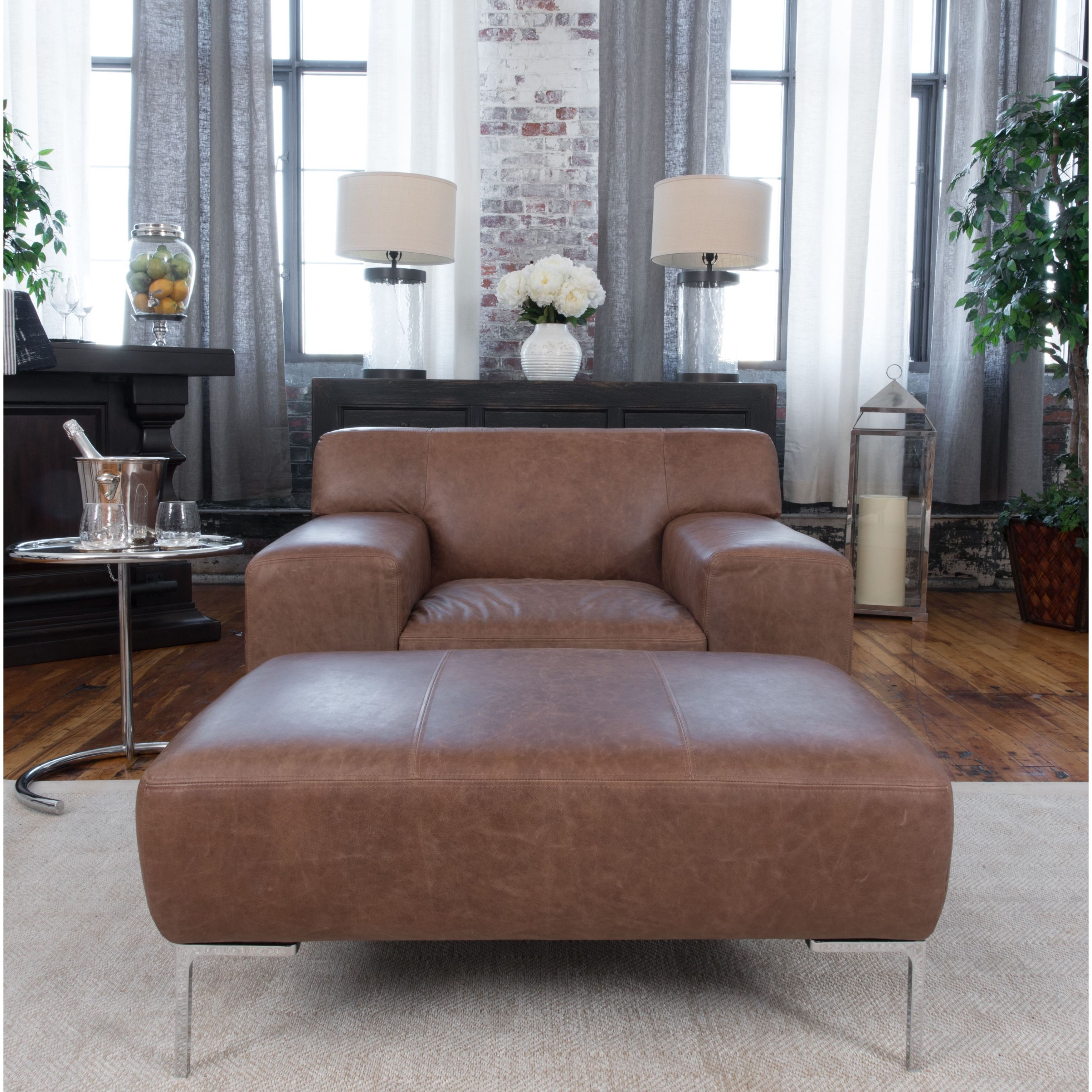 Industrial 2piece top grain leather set with oversized