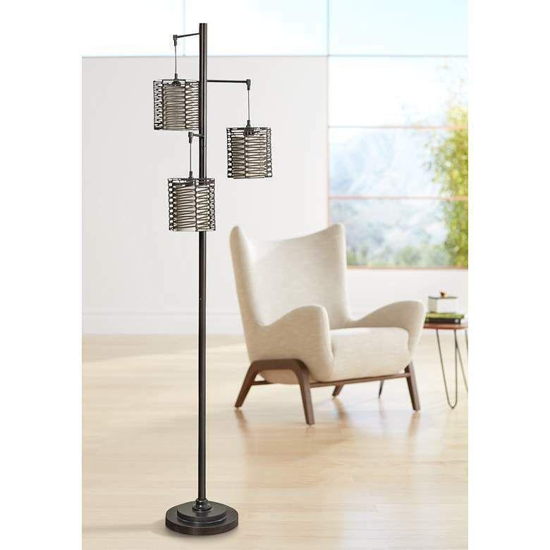 Details About Pre J Hunt Bronze 3 Light Floor Lamp With Brown