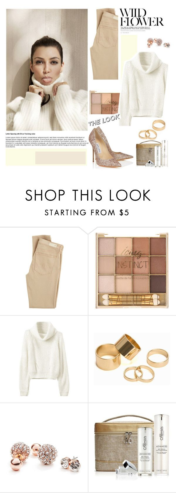 """""""#kimkardashian"""" by lushxoxo ❤ liked on Polyvore featuring AG Adriano Goldschmied, Pieces, GUESS and Jimmy Choo"""