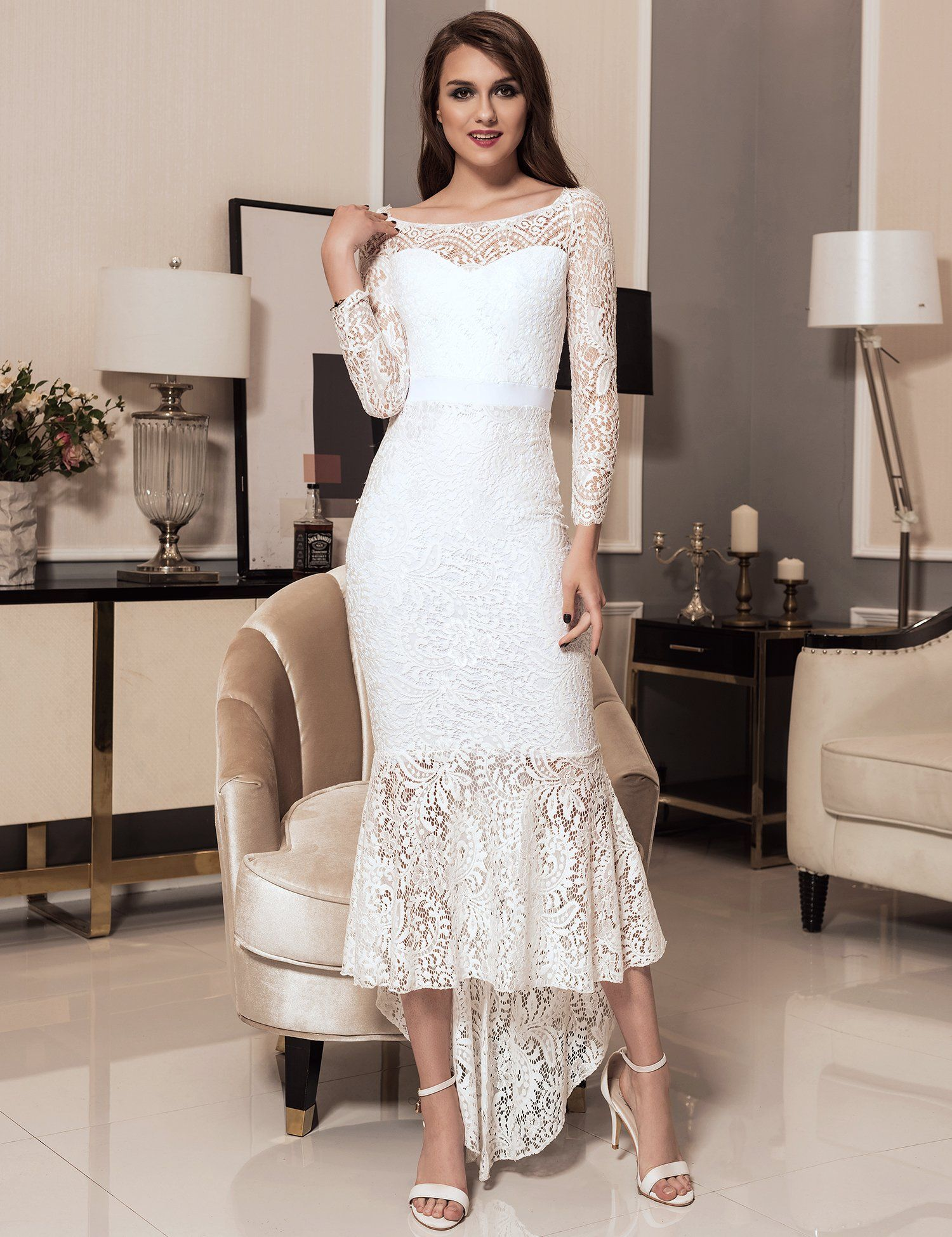 c7771ef72 ohyeah Women Solid Formal Lace Maxi Dress Long Sleeve Off Shoulder Elegant  Party Gown Mermaid Dress -- You can get additional details at the image  link.