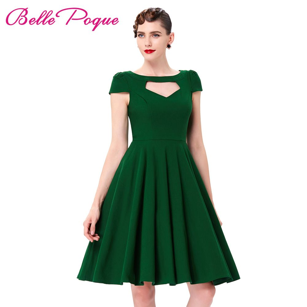 Short sleeve pin up big swing s dress summer vintage green red