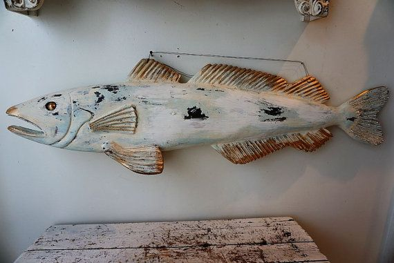 Large Wooden Beach Blue Fish Shabby Cottage Chic Hand Carved Sculpture Beachy Cottage Wall Hanging Table Top Hom Shabby Cottage Shabby Chic Cottage Wooden Fish