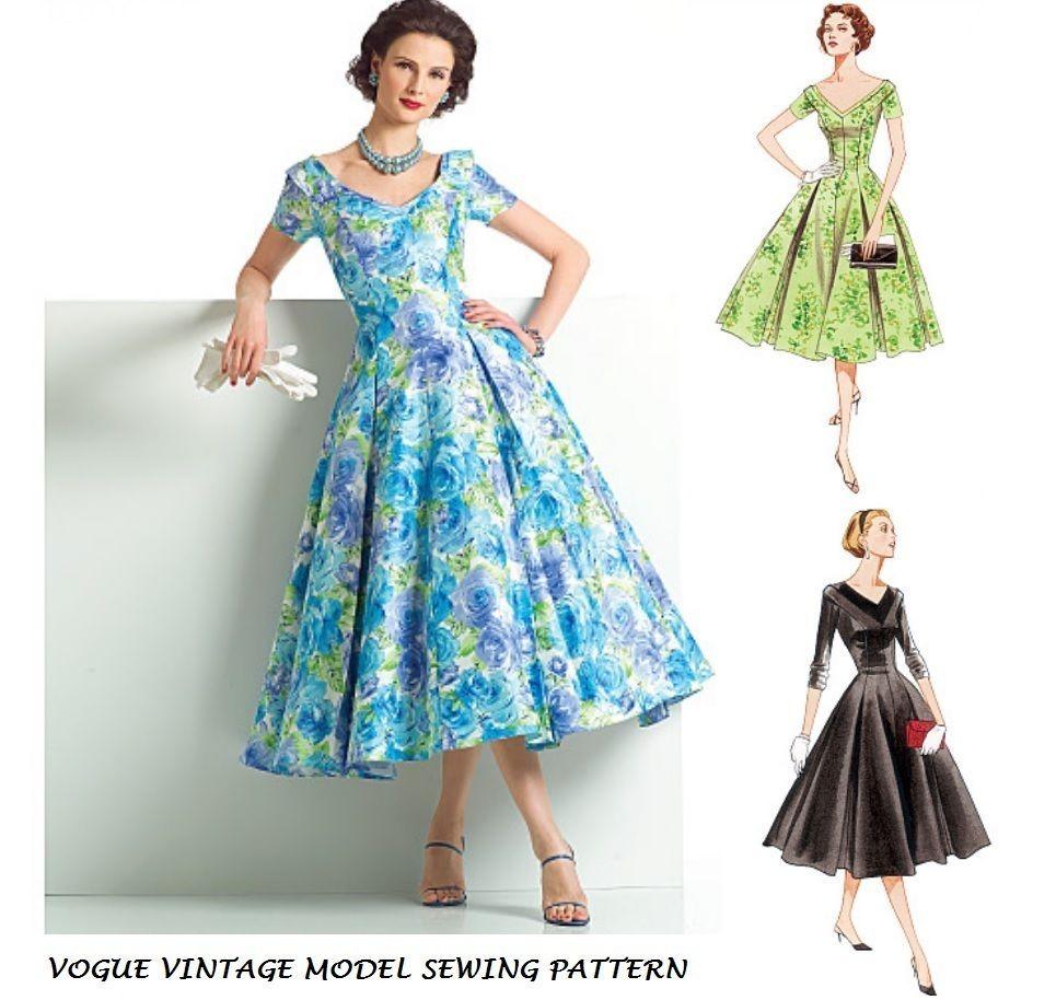 VOGUE VTG 50s RETRO SEWING PATTERN MISS PIN UP DRESS ROCKABILLY ...