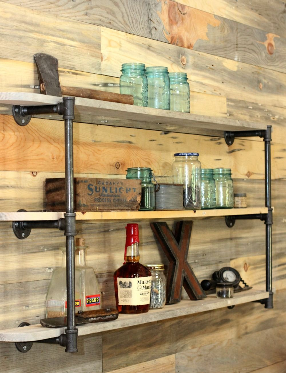 Hardware store DIY pipe shelf- Sew country chick | Apartment ...