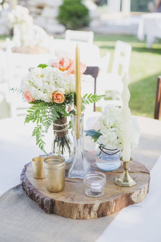 This Rustic Wood Slab Centerpiece Would Be Perfect For A Laid Back Outdoor Wedding This Simp Simple Centerpieces Diy Wooden Centerpieces Wood Slab Centerpiece