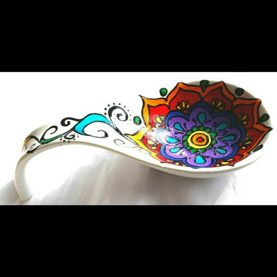 Painted Mandala Style Spoon Rest Pottery Spoon Rest Diy Pottery Ceramic Painting