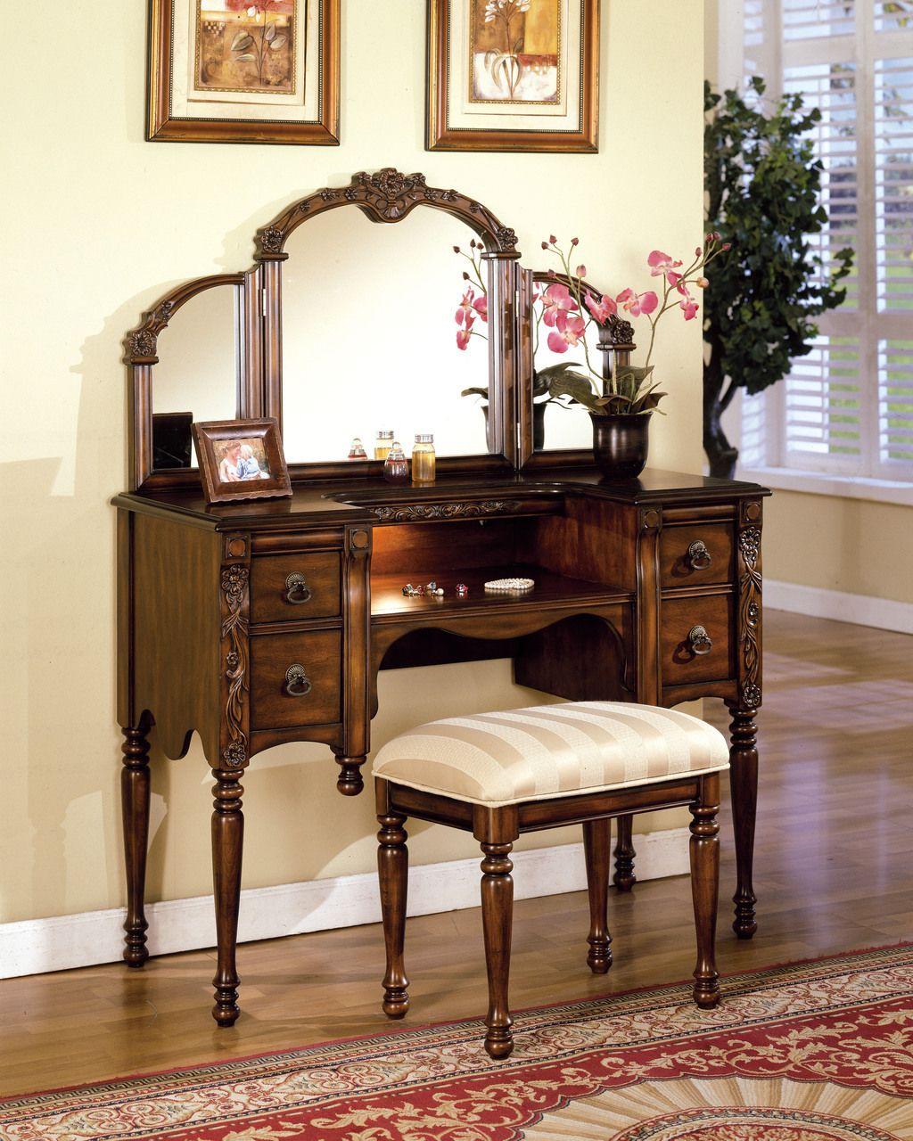 Sunnyvale antique oak vanity dressing table set dressing tables sunnyvale antique oak vanity dressing table set geotapseo Choice Image