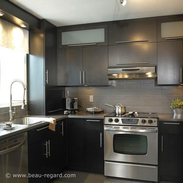 Armoire en bois plaqu mod le d armoires de cuisine placage de bois modern kitchen - Modele d armoire de cuisine ...