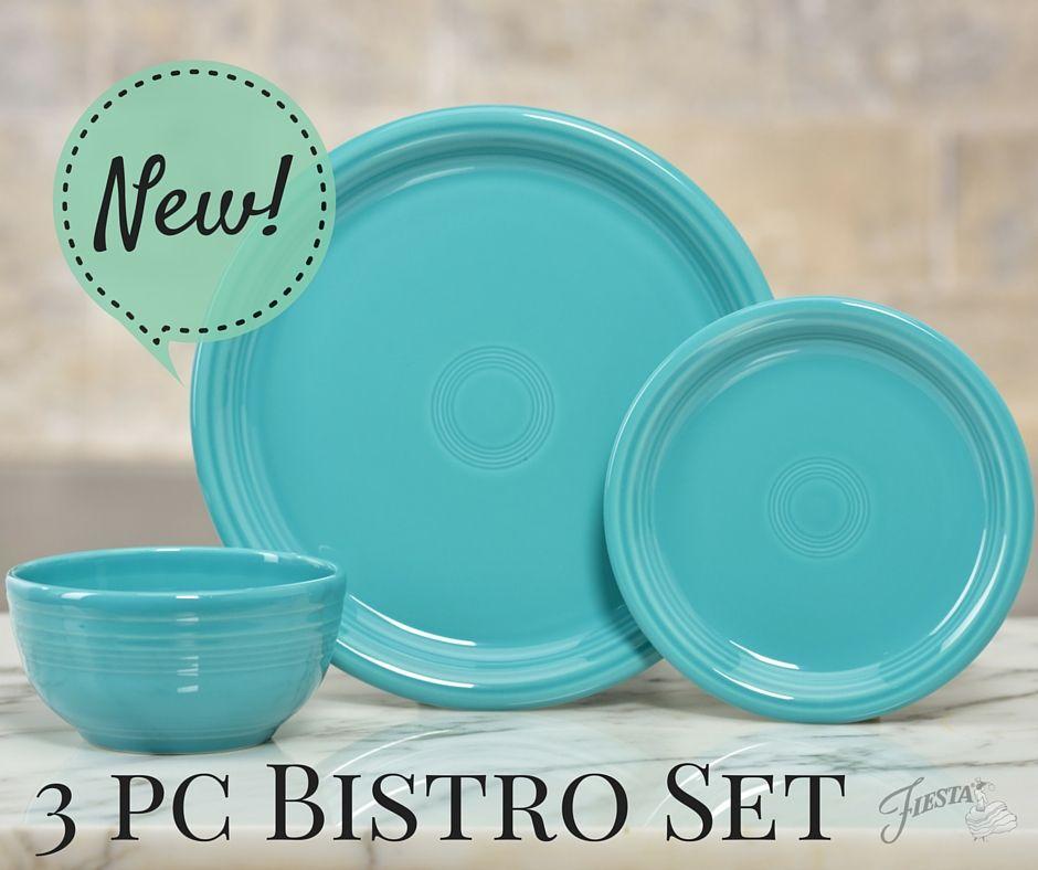fiesta dinnerware new 3 piece bistro set in turquoise - Fiesta Plates