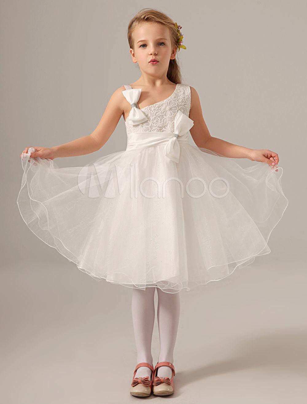 88bcadf36 Ivory One-Shoulder Knee-Length Pearls Organza Flower Girl Dress #Knee, # Length, #Ivory