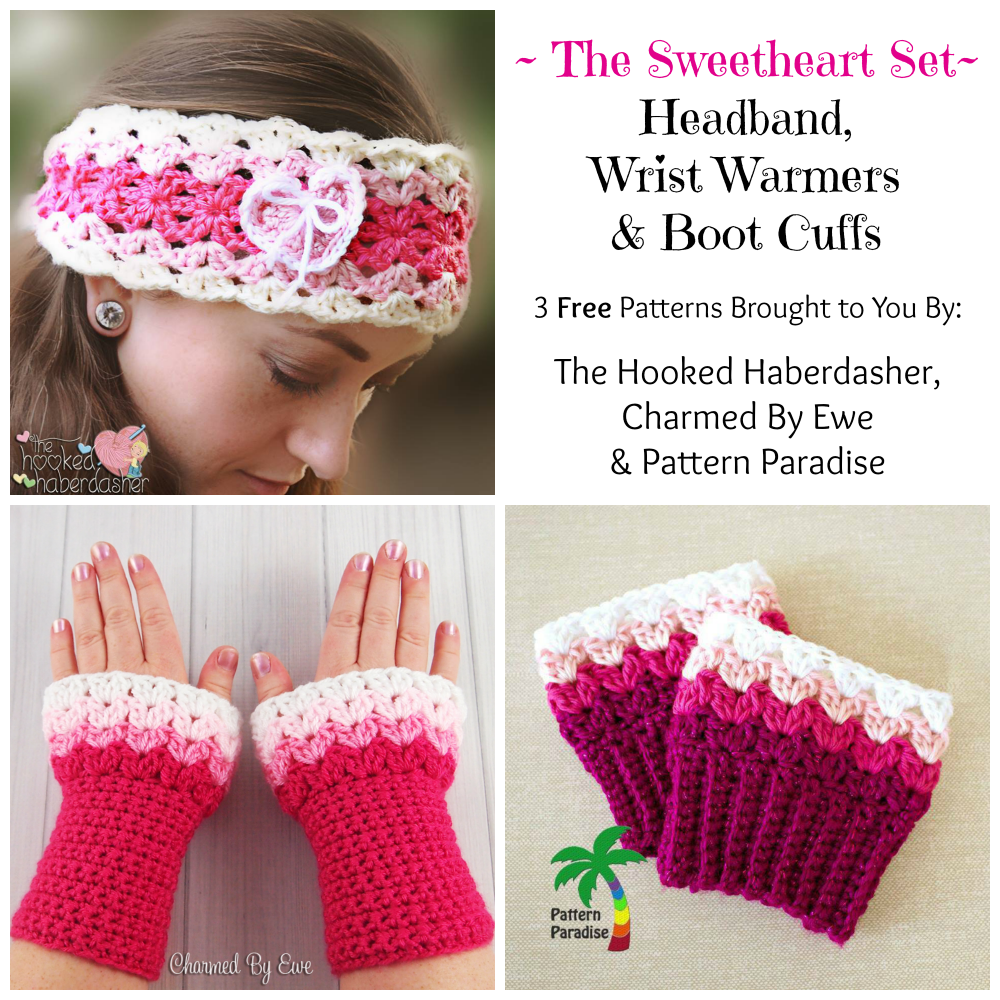 FREE Crochet Pattern - Sweetheart Boot Cuffs | Banda