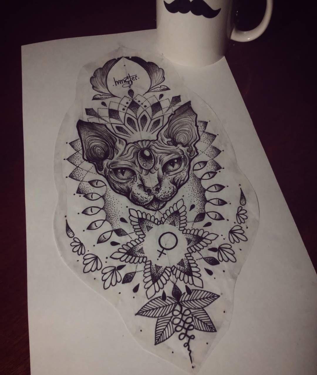 Sketch Dot Hamster Tattoo Mandala Lineart Vip Tattoo Sphynx