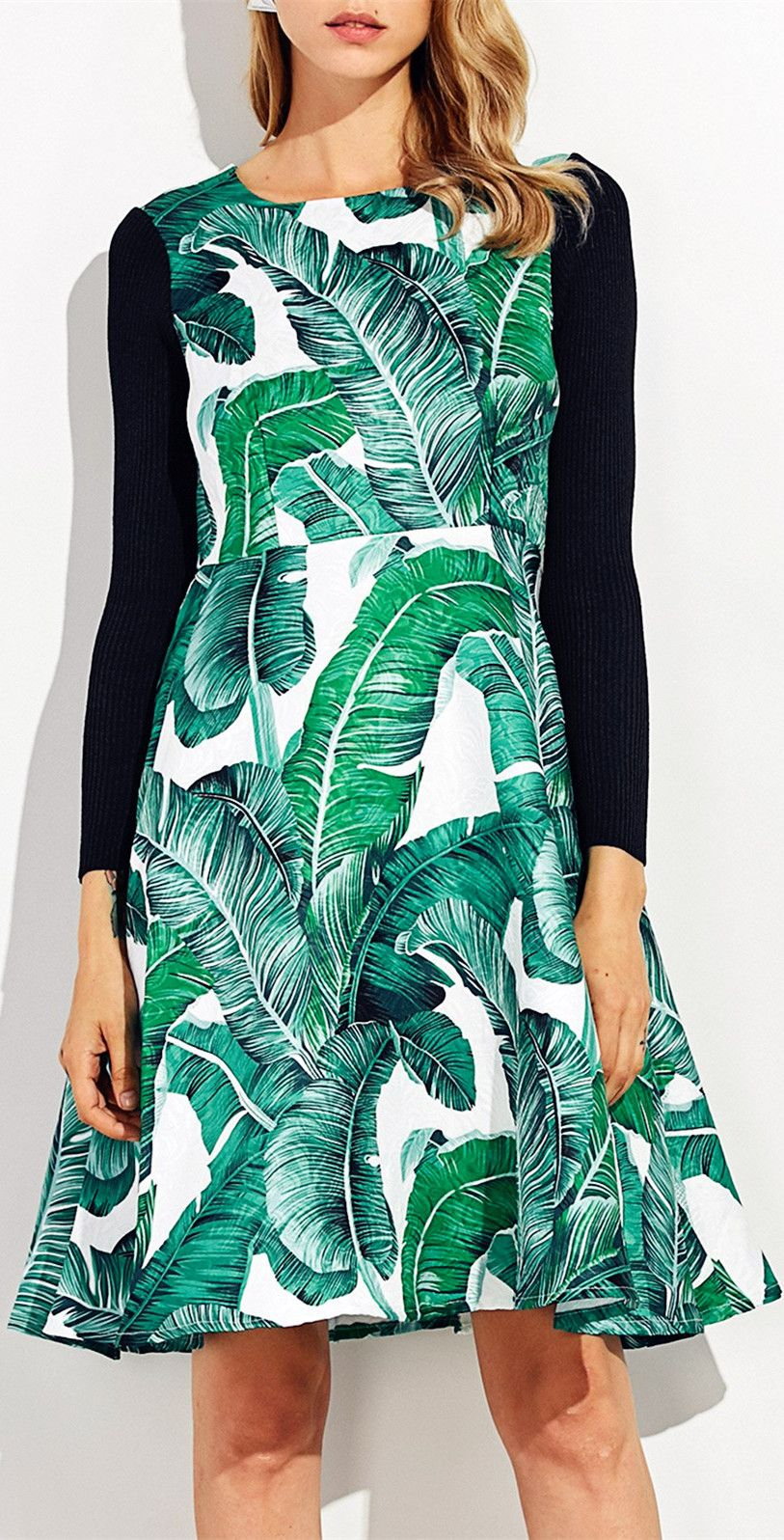 Knitted Sleeve Leaf Printed Flare Dress