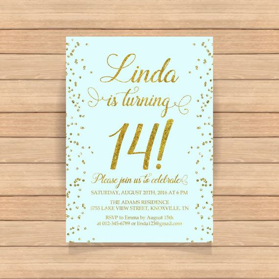 14th birthday invitation Fourteenth birthday Gold glitter confetti
