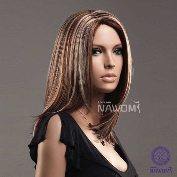 Cool Medium Length Gold And Brown Secondary Colors Natural Straight center  part With Blonde Highlights Hair Style Women Wig Amazon.co.uk Health  Personal ... 460230387