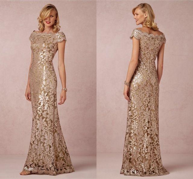 Online Shop Elegant Champagne Mother Of The Bride Dress Boat Neck ...