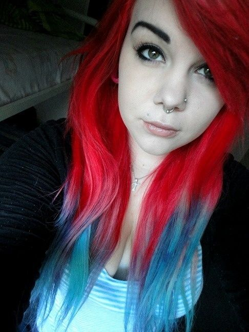 Red Blue Dip Dyed Hair Scene Hair In 2019 Dyed Hair Hair Und