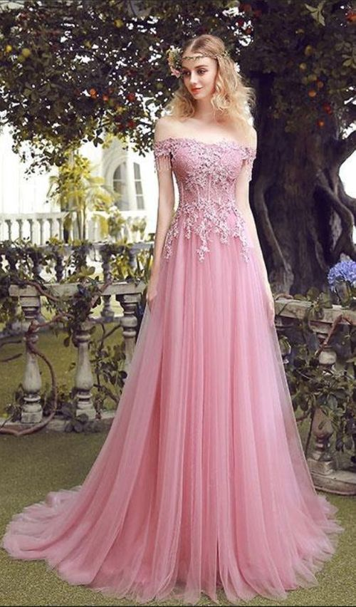 f166f7fdb09d Charming A Line Off Shoulder Lace Up Long Pink Lace Tulle Prom Dress With  Beading