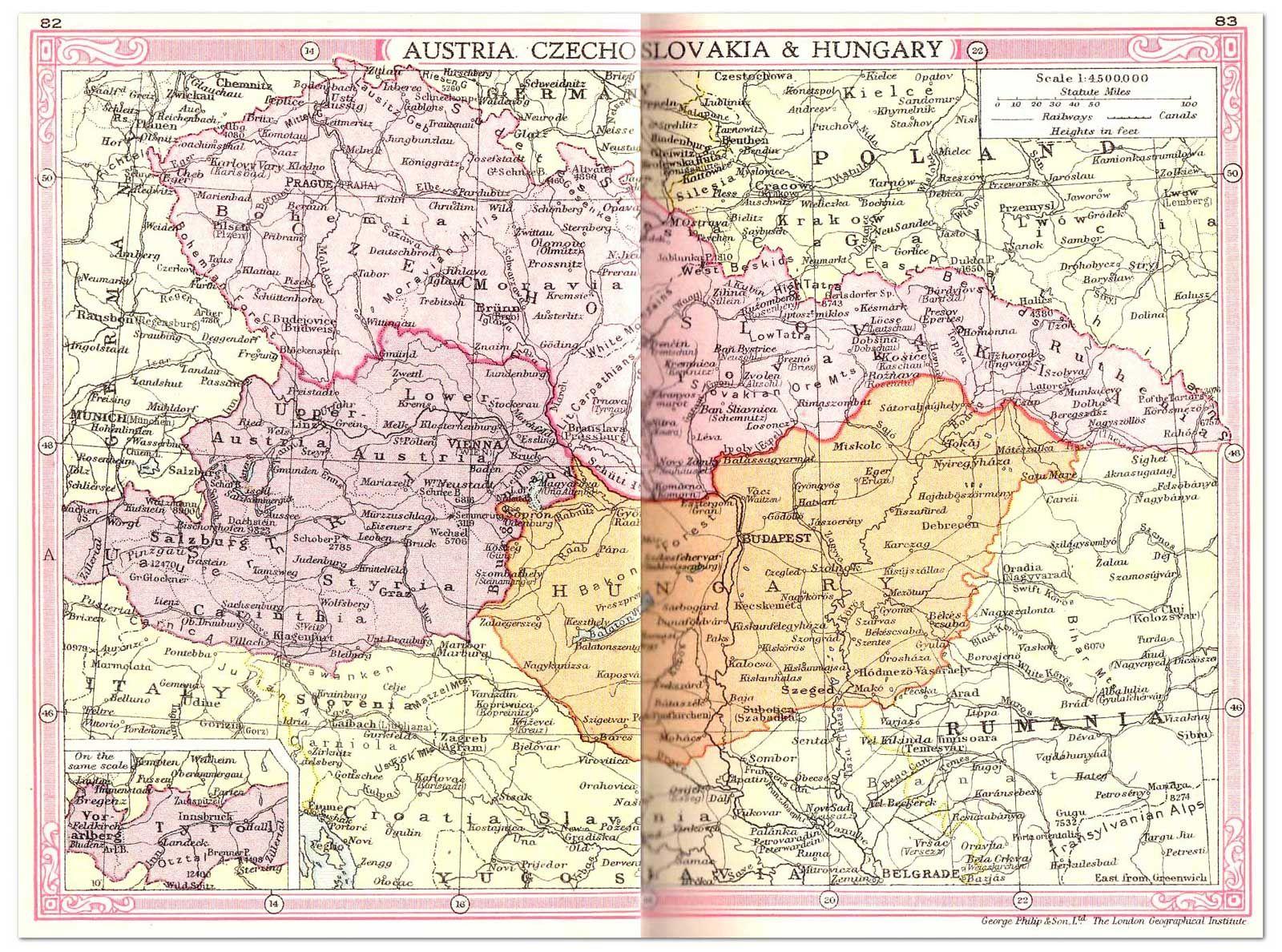 Austria, Checoslovaquia, Hungría mapa (1935) | La Base de Datos Filatelia - Archivo de Filatelia artículos