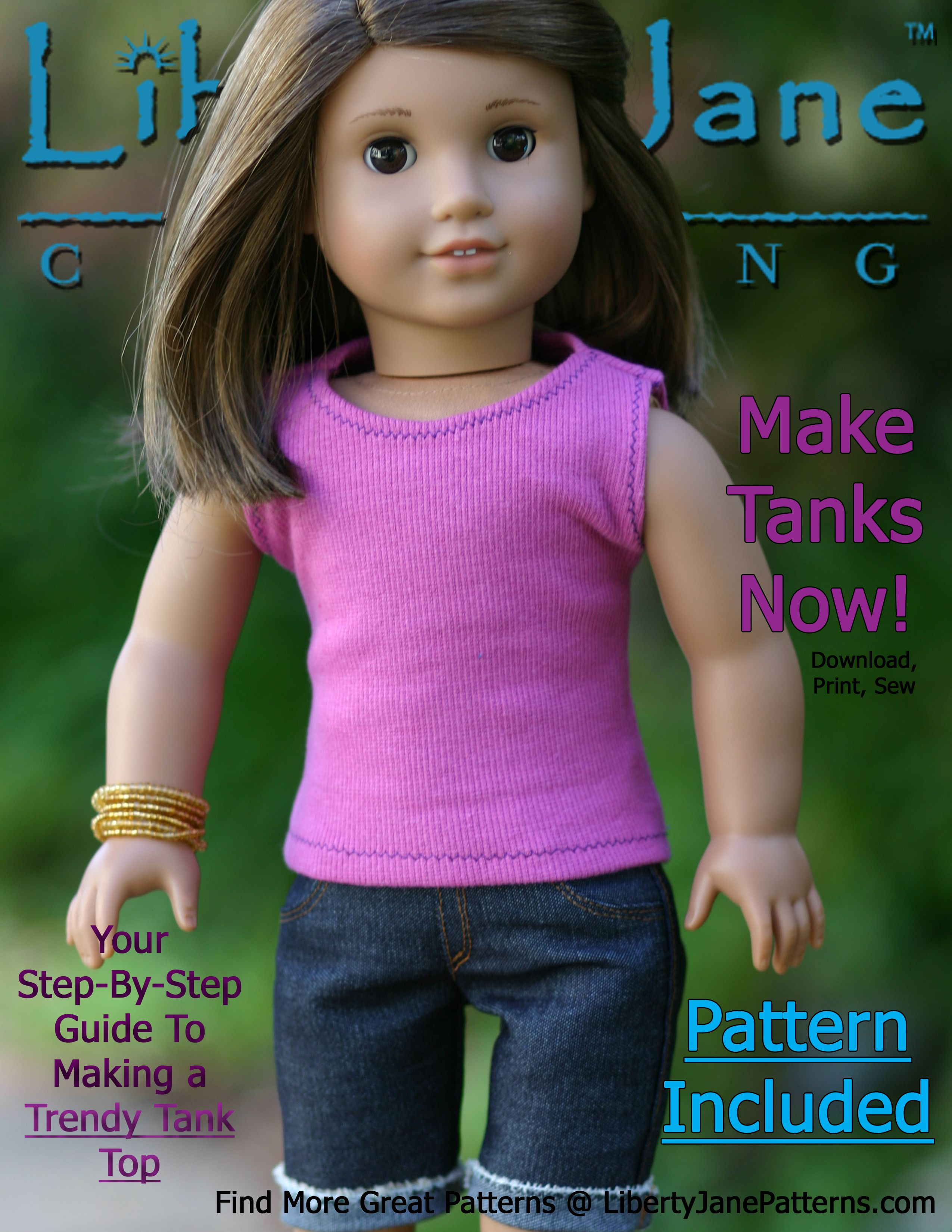 FREE Doll Clothes Pattern Liberty Jane Trendy Tank Top. PDF file ...