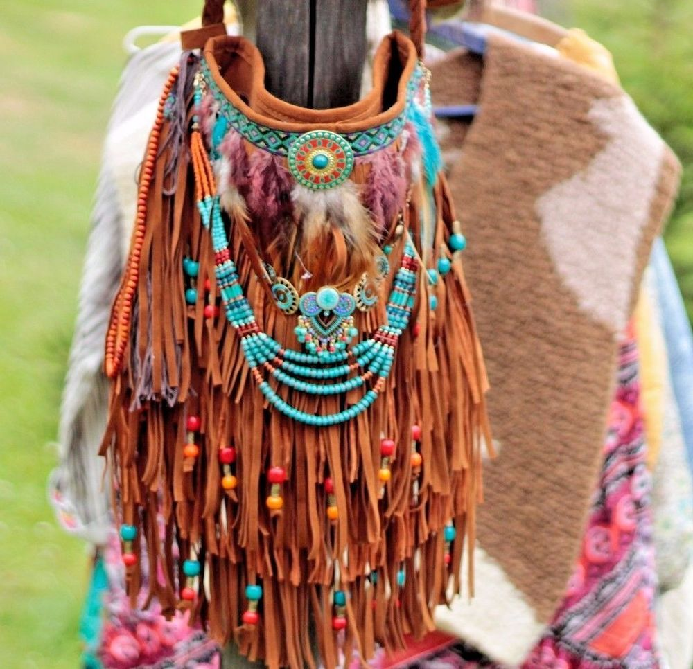 3125a4cbf3 NATIVE AMERICAN FRINGE BAG HIPPIE BOHO HANDBAG FESTIVAL HOBO BAG ORIGINAL  PURSE
