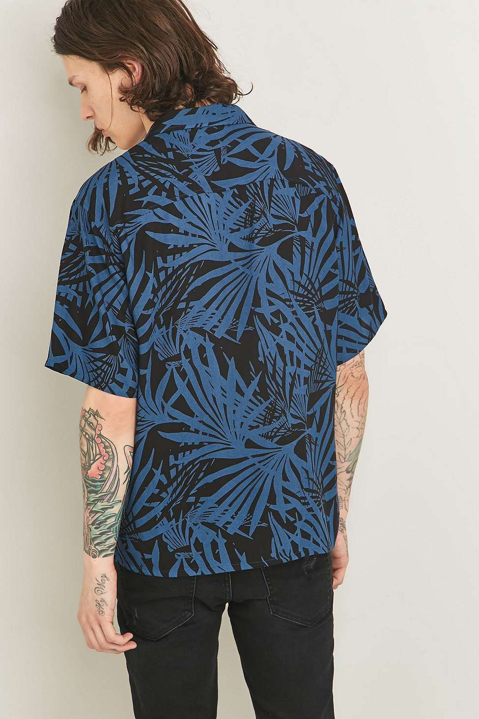 e7e7fb1b Loom Palm Blue Short Sleeve Shirt - Urban Outfitters | > BLUE ...