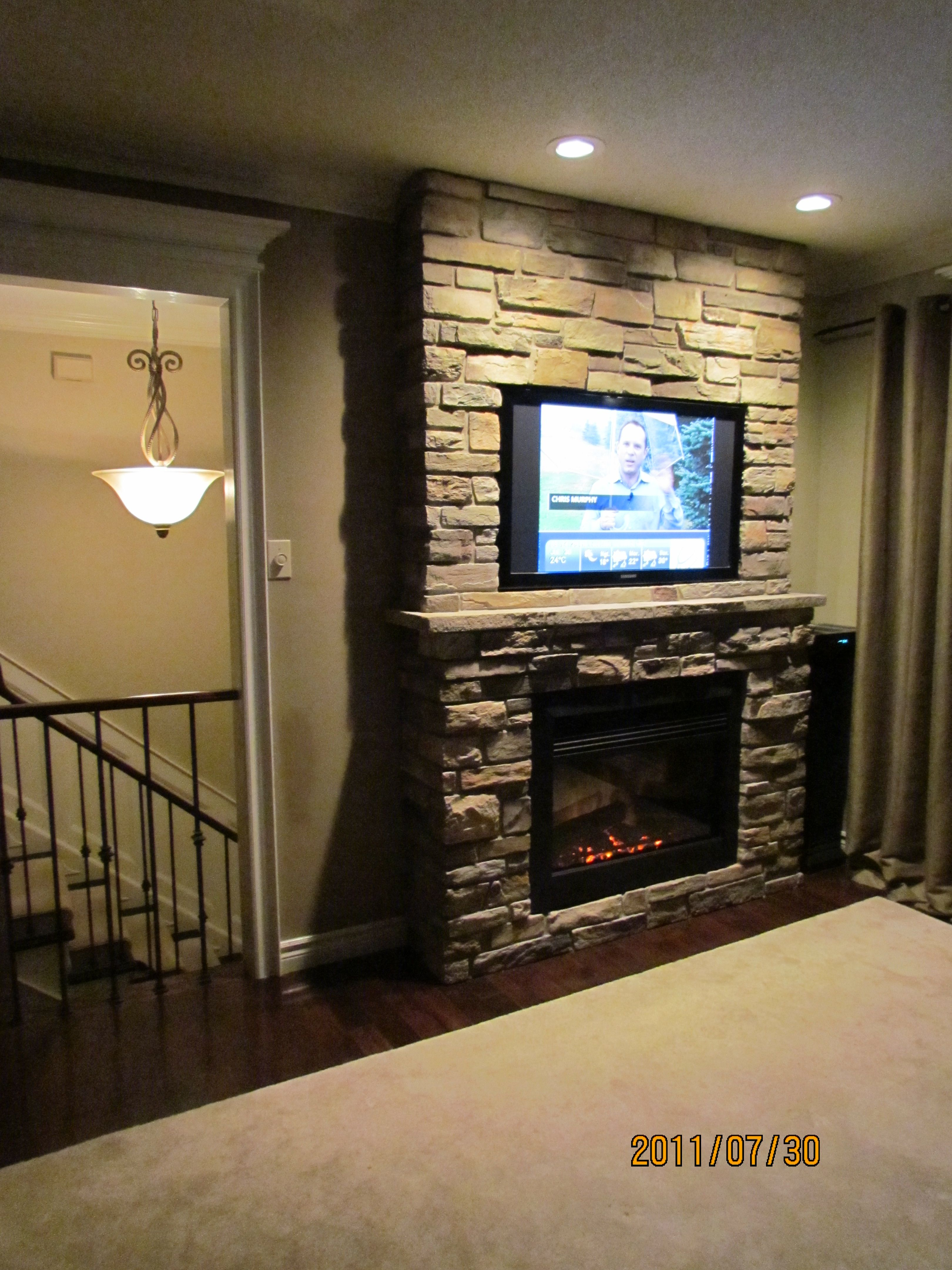 Fireplace With Built In Tv Accent Wall Own Project Built