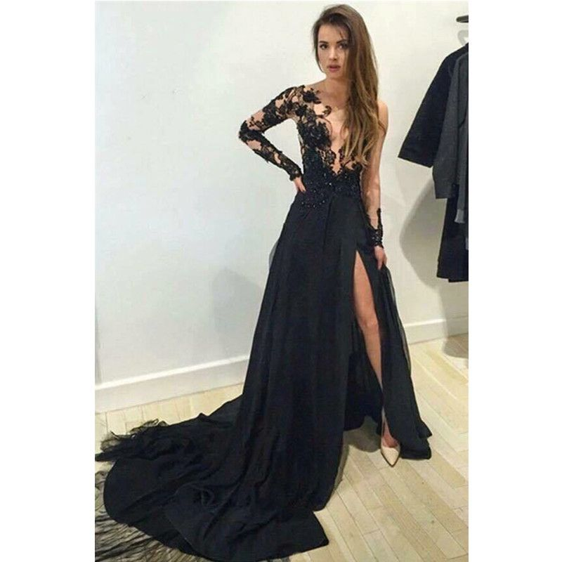 Sexy Black High Splits Lange Prom Kleider für Partei Online Verkauf ...