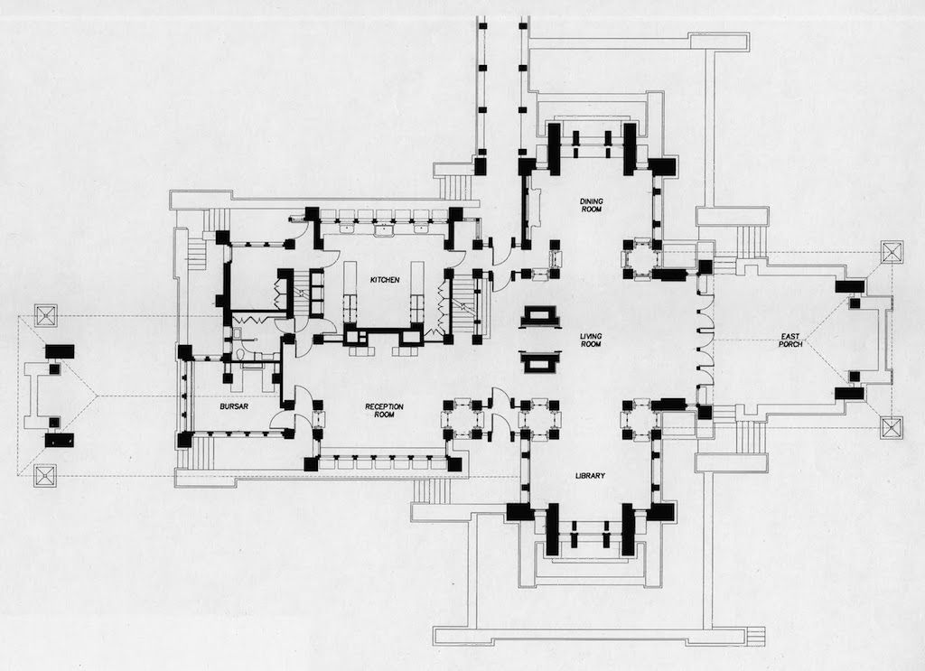 First Floor Plan Of Martin House F L Wright Buffalo Martin House Darwin Martin House Floor Plans