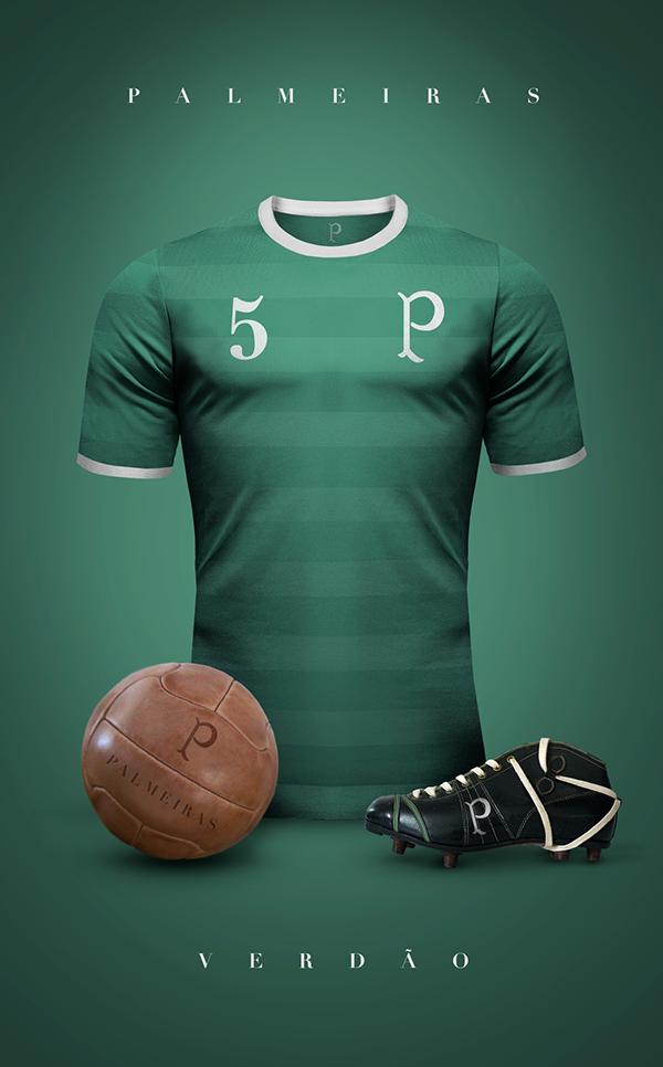 54b7c0529b2a9 Designer lança camisetas retrôs de principais times do mundo. Uniformes  FutebolCamisas De FutebolFutebol VintageS E ...