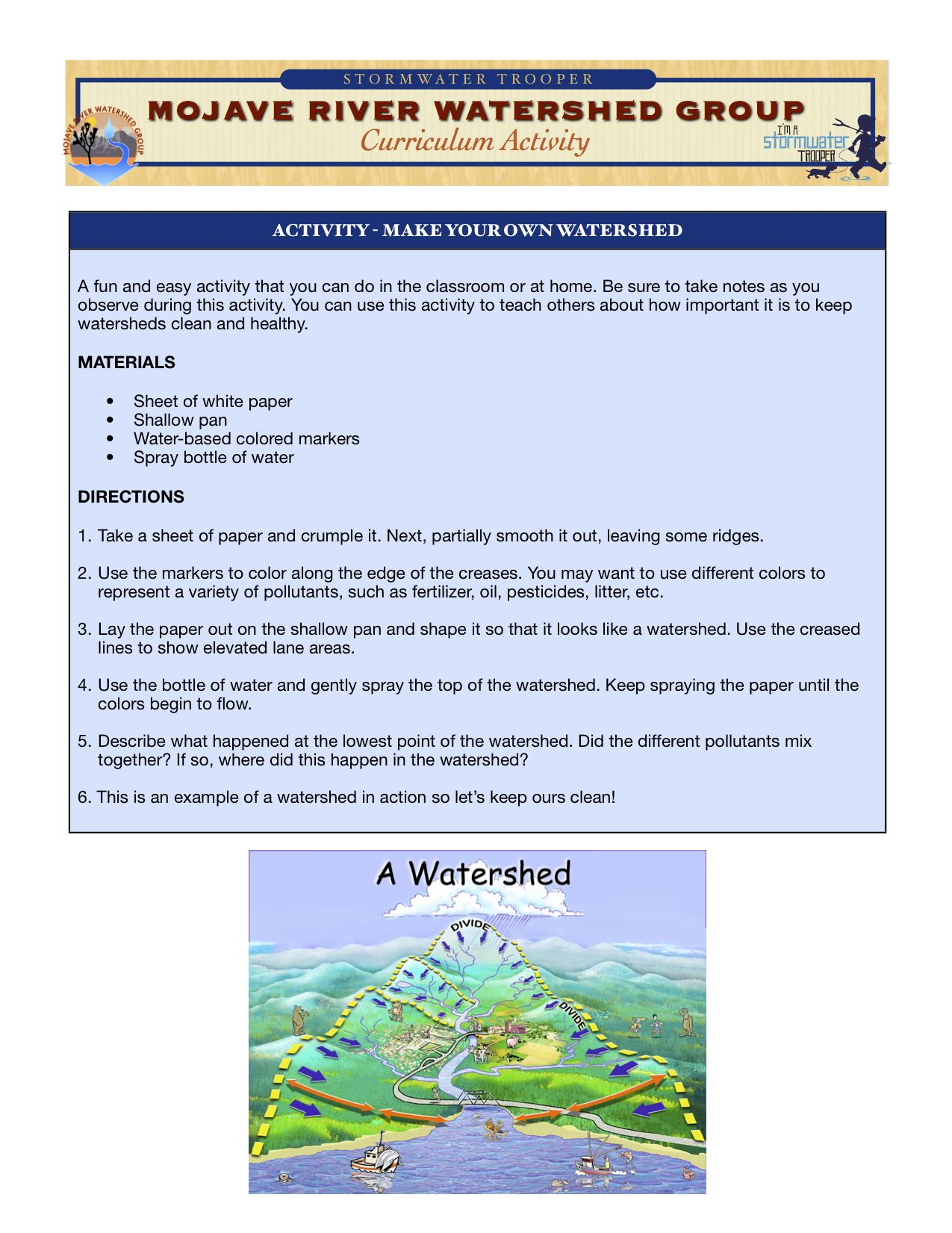 Mrwg 4th 6th Grade Build Your Own Watershed Activity