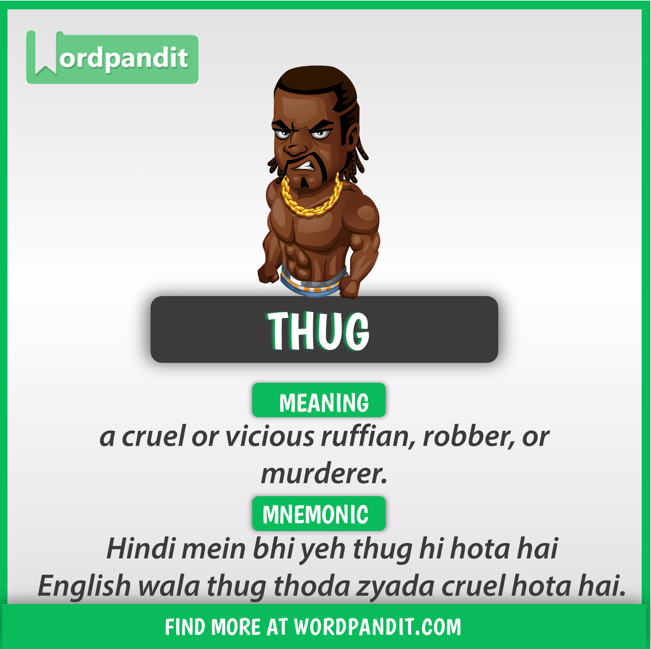 Meaning of thug | Vocabulary | Learn english words, English