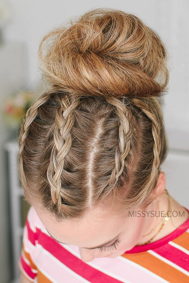 5 Dutch Braids High Bun Dutch Braid Frisuren Zopf Lange Haare Haar Styling