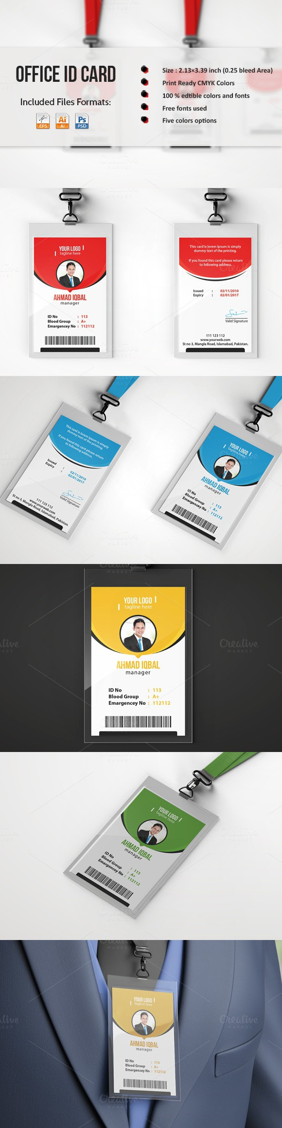 Office ID Card Template | Card templates, Template and Logos