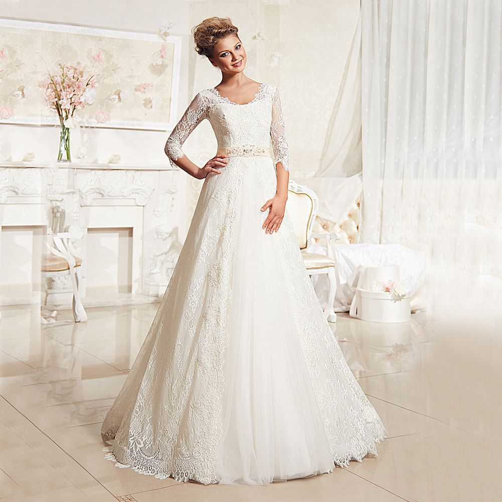 Elegant V neck Lace Wedding Dress 2016 Half Sleeve Bridal Gowns Plus Size Formal Vestido de noiva  2015 With Detachable Jacket