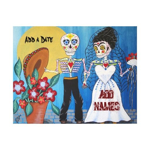 Day of the Dead Wedding Couple Stretched Canvas Print
