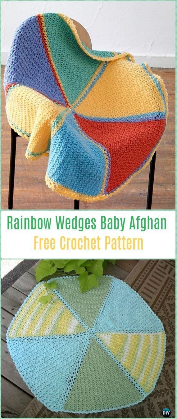 Crochet Rainbow Wedges Baby Afghan Free Pattern Crochet Circle