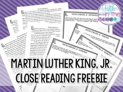Free Martin Luther King Jr Close Reading Activities Fifth In The