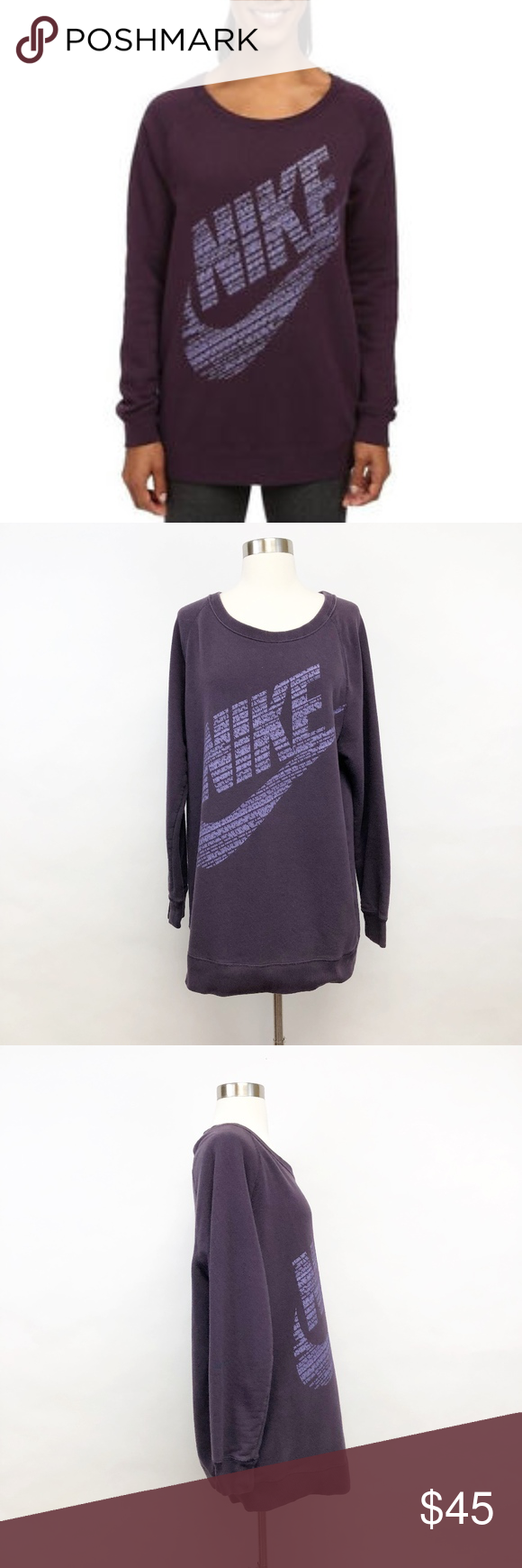 Nike Rally Bf Crew Neck Sweatshirt Logo Sz M Crew Neck Sweatshirt Sweatshirts Women Shopping [ 1740 x 580 Pixel ]