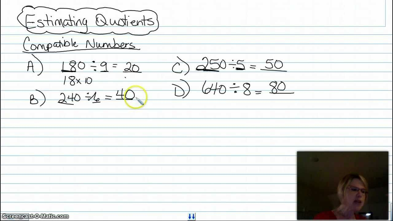 Estimating Quotients Using Compatible Numbers Compatible Numbers Estimating Quotients Division Worksheets