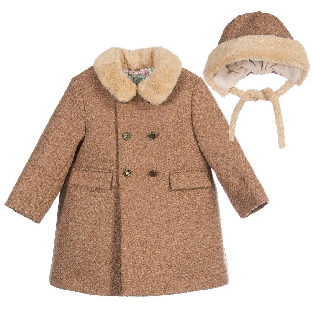 Nanos Baby Girls Brown Wool Coat & Bonnet at Childrensalon.com ...