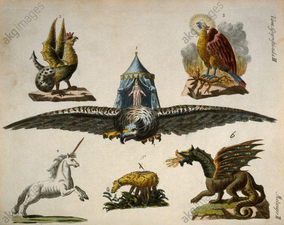 Fabelhafte Tiere. 1. Der Vogel Roc. 2. Der Basilisk. 3