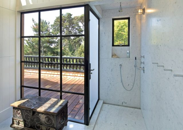 Factory Windows In An Indoor/Outdoor Shower By Malcolm Davis Architecture,  Remodelista