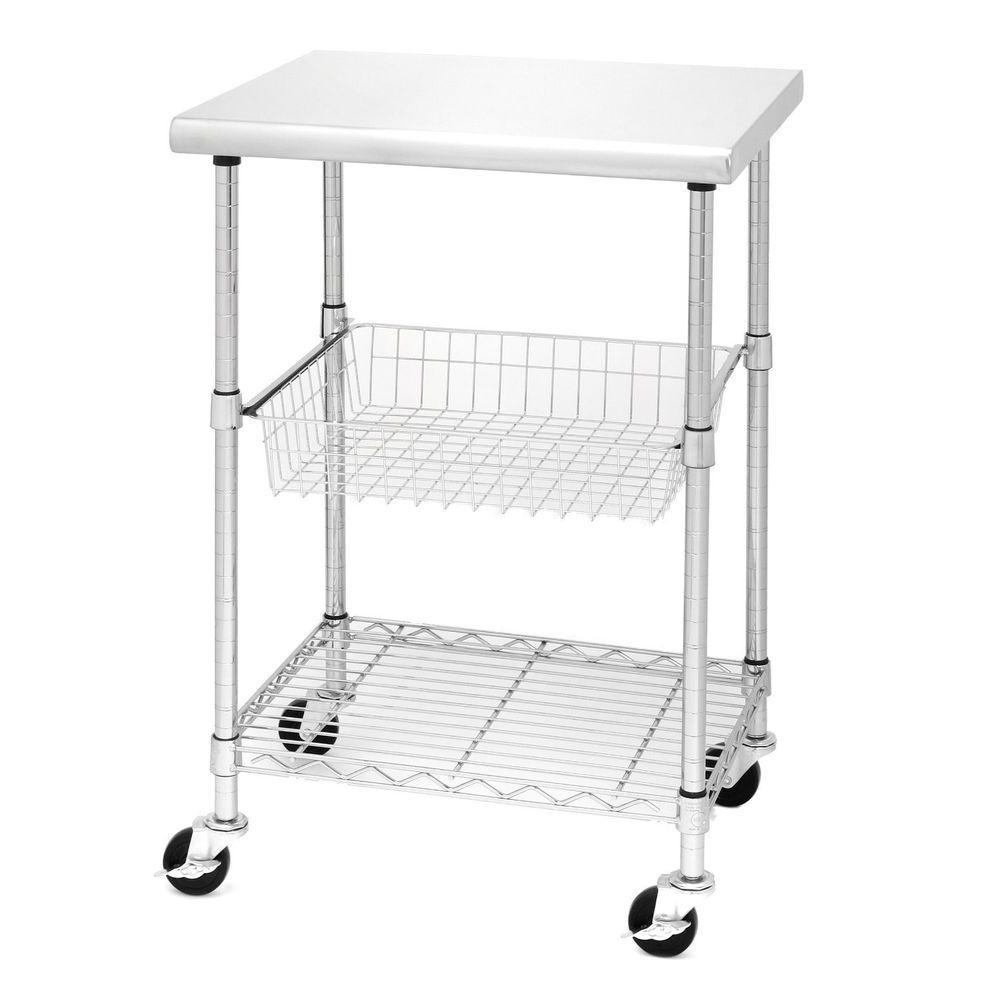 Kitchen Cart Cutting Table Island Steel Wire Shelf Basket Storage ...