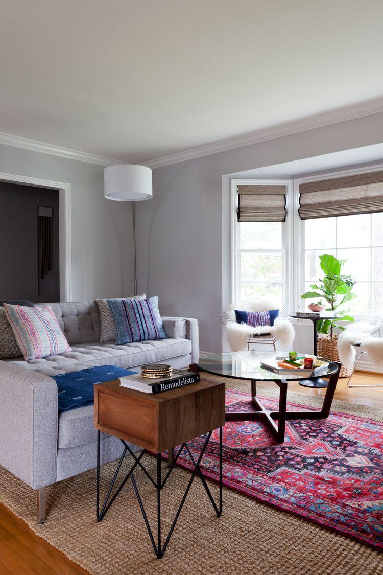 Bertoia chair sheepskin - Veneer Designs Castle Heights Living Room Gray Sheepskin Persian Rug Bertoia