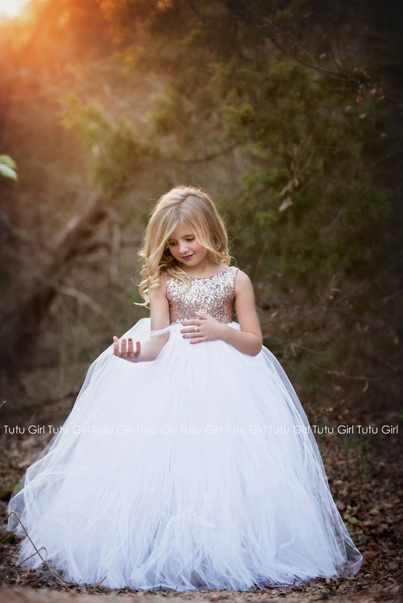 Pink Blush Flower Girl Dress with Pastel Pink and Ivory Tulle Sleeveless Style Rose Gold Sequin Tutu Dress