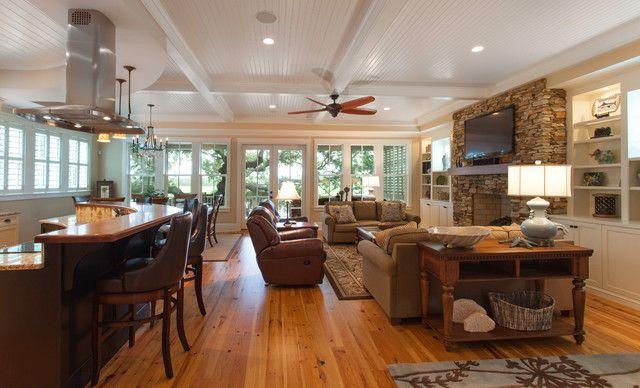 Traditional Island Home Open Floor Plan Living Room Living Room