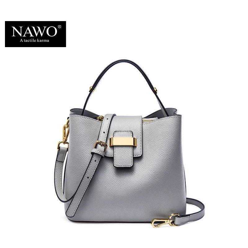 NAWO 2016 Designer Women Leather Handbags Bucket Shoulder Bags Ladies Crossbody Bags Small Cow Real Genuine Letaher Women Bags