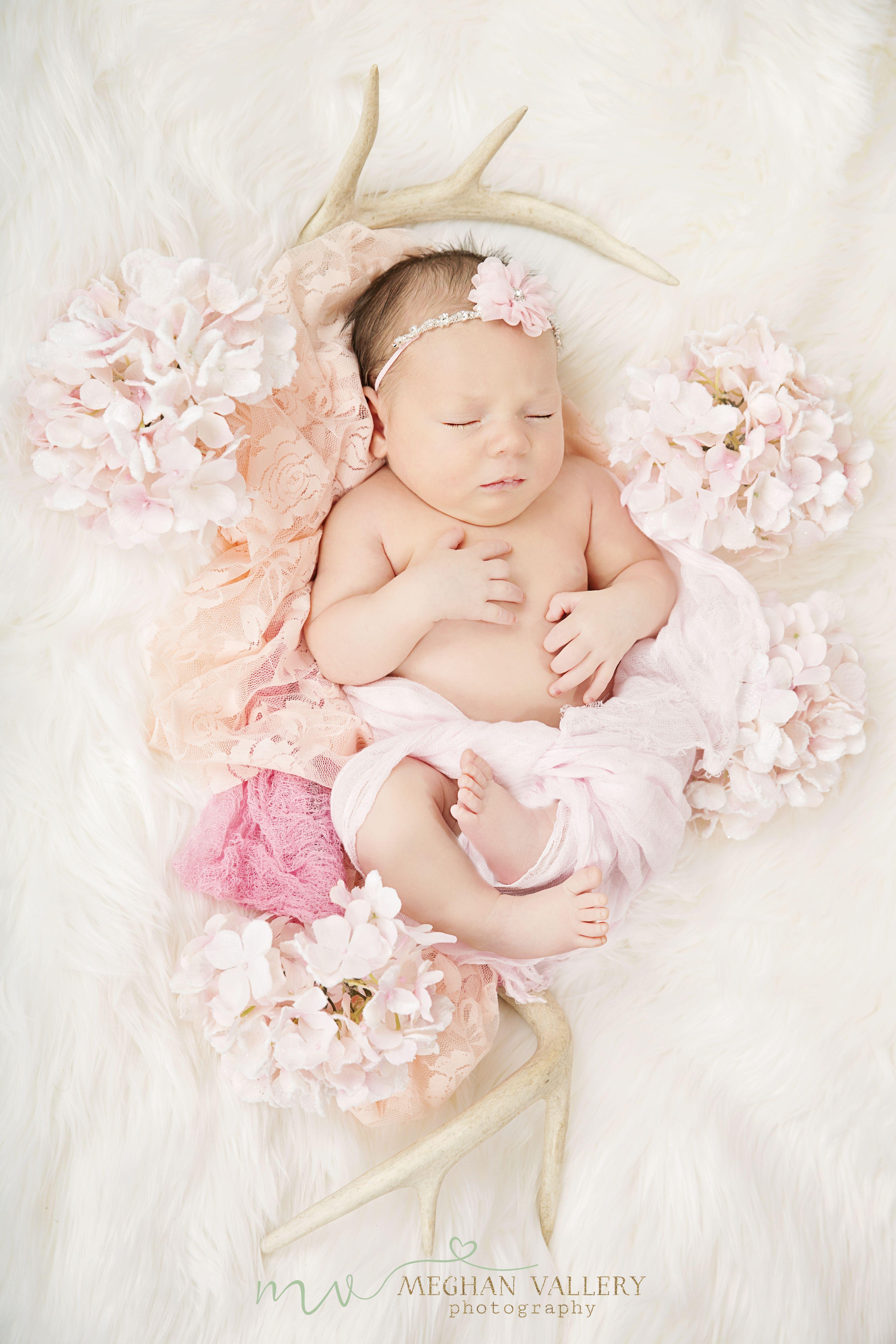 Newborn girl antlers and lace bebês recém nascidos lindos bebe recem nascidos ensaio